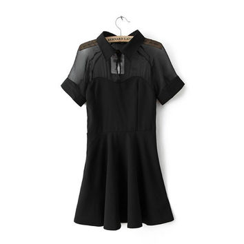 Summer Short Sleeve Chiffon Mosaic Sexy See Through Stylish Dress One Piece Dress [4917857540]