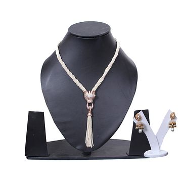MULTISTRAND PEARL CZ GOLD PLATED LONG NECKLACE SET