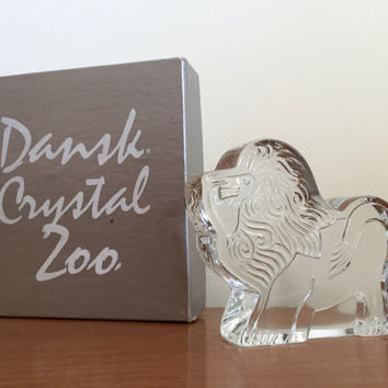 Vintage Dansk Crystal Zoo Lion