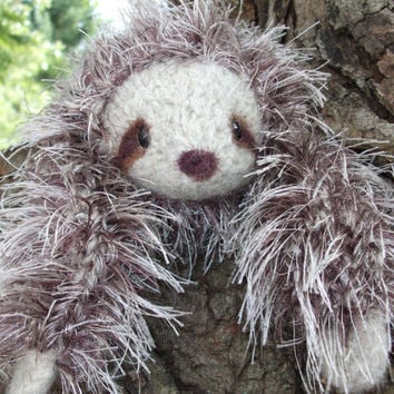 Sloth plush, knitted and felted stuffed animal, ready to ship!