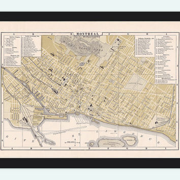 Old Map of Montreal, Canada 1894 Vintage Montreal map