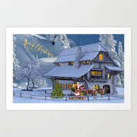 Merry Christmas Art Print by Knm Designs