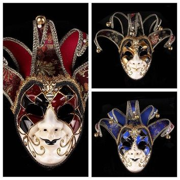 Halloween Phantom of the Opera Venetian Clown Masquerade Masks With Bells Cosplay Party Ball Show Costume Props Decoration