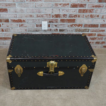 Vintage Green Steamer Trunk, Coffee Table, Storage Trunk, Foot Locker with Keys