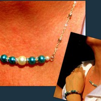 Royal Blue & white pearls silver Necklace