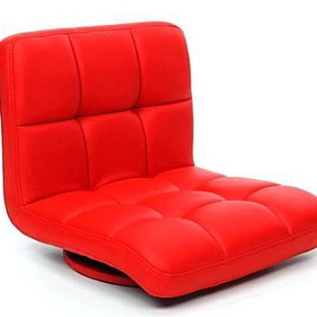 Tatami Zaisu Legless Modern Red Leather Swivel Chair 360 Degree