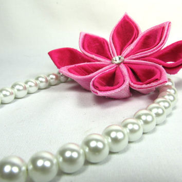 Designer Dog Collar - White Pearls and Pink Kanzashi Flower - dog collar necklace, pearl necklace for dogs, wedding dog collar