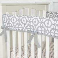 Gray and White Mod Crib Rail Cover