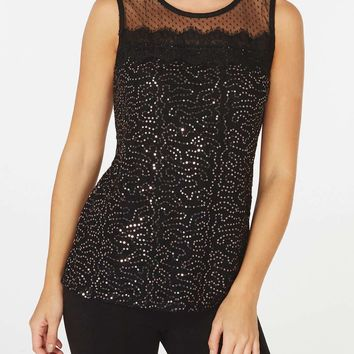 Black Sequin Mesh Trim Shell Top | Dorothyperkins