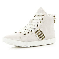 White stud high tops