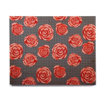 "Pellerina Design ""Red Rose Garden"" Red Gray Floral Modern Digital Painting Birchwood Wall Art"