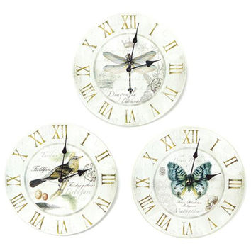 3 Wall Clocks - Butterfly, Dragonfly And Bird