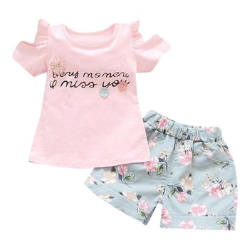 Baby clothes set girls Toddler Kids Baby Girl Letter T-shirt Top+Floral Shorts Pants Outfit Clothes Set drop shipping
