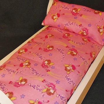 Bedding Set for American Girl Doll mattress and pillow set with Pink Fairy Fabric