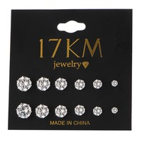 Day-First™ 17KM Fashion 6 Pair/ set Punk Accessories Crystal Stud Earrings Set For Women Ro