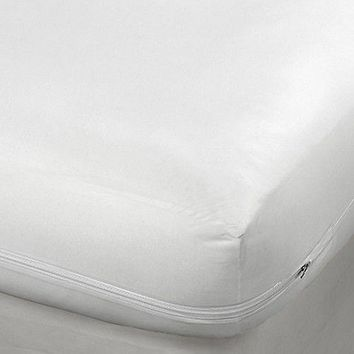 Full Size Fabric Zippered Mattress Cover, Bed Bug Protector Hypoallergenic Cover