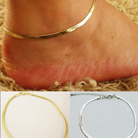 pc Women Girls Silver/Gold Chain Ankle Bracelet Anklet Foot Jewelry Beach