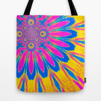 Colorful Tote Bag, Pink Yellow Blue Modern Flower Bag, Pink Flower Tote Bag, Canvas Tote, Large Tote, Market Tote, Book Bag, Sturdy Tote Bag