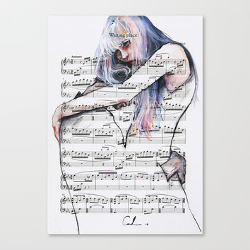 Waiting Place on sheet music Canvas Print by Agnes-cecile