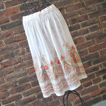 White Gypsy Skirt: Knee Length Skirt, Flowy Indian Bohemian Boho Skirt Floral Crinkle Sequin Cover Up