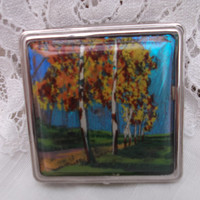 Beautiful butterfly wing compact with puff and pouch. Art Deco. Ideal anniversary, birthday, bridesmaid gift.  Collector item.