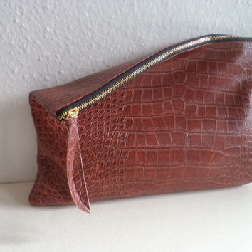 Handmade clutch purse / Large foldover clutch / Croco pattern clutch bag