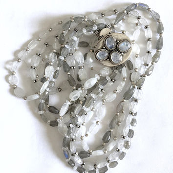 Elegant Faceted Quartz Beads in Gray and White with Silver Accents and Large Sterling Silver Box Clasp with Bezel Set Quartz Cabochons