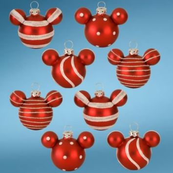 Peppermint Glass Mini Mickey Mouse Holiday Ornaments -- 8-Pc. Set | Ornaments | Disney Store