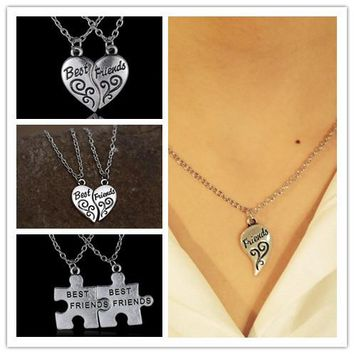 Broken Heart pendant stainless steel Engraved best friends pendant necklace for women men brother sister party gift