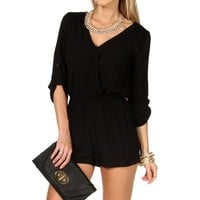 Black Rolled Up Sleeves Romper