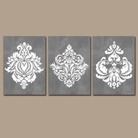 Bedroom Wall Art Watercolor Wall Art Bathroom Wall Art Damask Wall Art Gray Wall Art Bedroom Pictures Bathroom Pictures Home Decor Set of 3