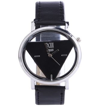 Hollow Triangle Dial Faux Leather Analog Quartz Wrist Watch