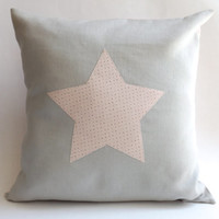 "STAR Pillow Cover, Modern NURSERY Decor, Kids Room Decor, BABY Girl Room, Girl Room, Baby Cushion, Kids Pillow, Gray Nursery, 16"" x 16"""