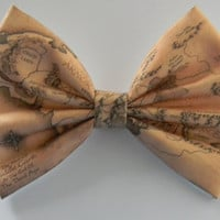 Lord of the Rings Map of Middle Earth Inspired Classic Hair Bow or Clip On Bow Tie