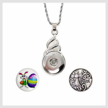 Snap Charm Pendant Set Easter Bunny and Cross and Faith Fits Standard Ginger Snaps