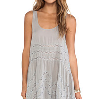 Free People Voile and Lace Trapeze Slip in Gray