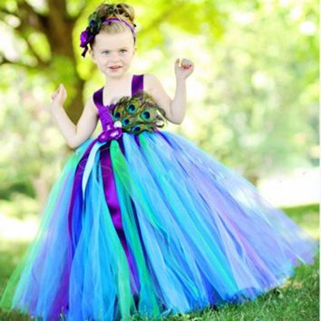 Girls Peacock Tutu Dress With Feather Long Handmade 1-14Y Kid Party Ball Gown Flower Wedding Birthday Halloween Costume Vestidos