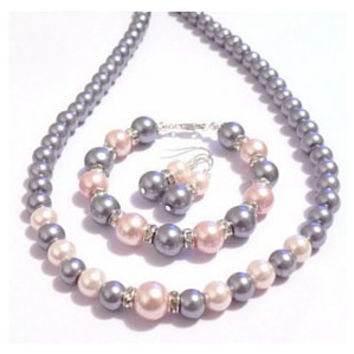 Pink and grey pearl necklace bracelet & earring set