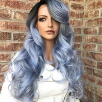 "SALE Blue Silver Lace Front Wig 26"" 58171"