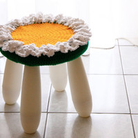 Nursery decor crochet stool cover, Rita, white flower for IKEA Mammut Stool, cover only