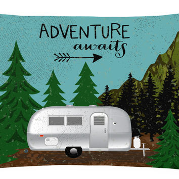 Airstream Camper Adventure Awaits Canvas Fabric Decorative Pillow VHA3022PW1216
