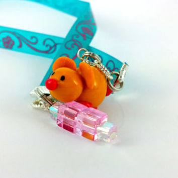 Ribbon Bookmark, Hamster Bookmark, Mouse Bookmark, Cute bookmark, Polymer clay Charm, Blue Bookmark, Blue pink bookmark, Christmas Gift