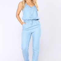 Steam Room Chambray Jumpsuit - Light Wash