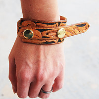 Recycled Tooled Leather Rustic Floral Double Snapp by jessamity