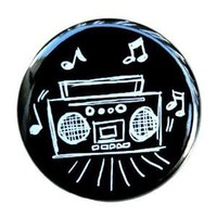 Boom Box Drawing  Button Pin by theangryrobot