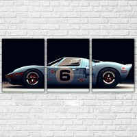 Ford Ford GT40 Supercar Wall Art 3 Pieces Luxury Sports Car Racing Pictures Home