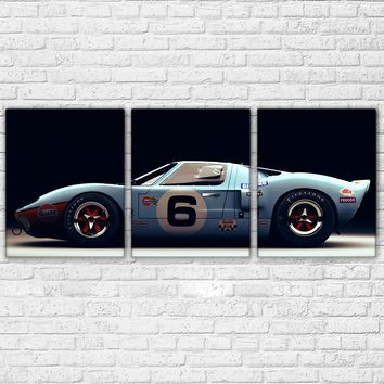 Ford Ford GT40 Supercar Wall Art 3 Pieces Luxury Sports Car Racing Pictures Home Decor