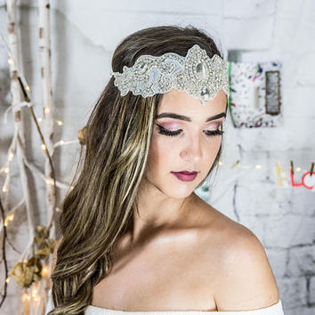 Crystal Bridal Headband Halo, Crystal Headpiece, bohemian bride, bridal hair accessories, indian hair jewelry, bridal hair piece