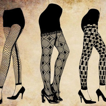 3 pairs womans sexy legs fishnet stockings png graphics clip art digital stamp fashion shoes make Pillows Totes Towels t-shirts CARDS ETC