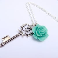 Ornate Skeleton Key Necklace With Flower In Seafoam - Beauty Key